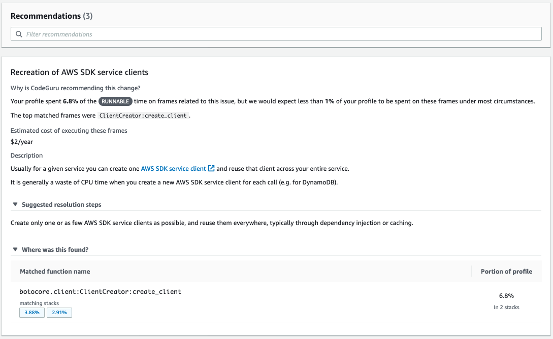 This image shows the detailed recommendation for 'Recreation of AWS SDK service clients'