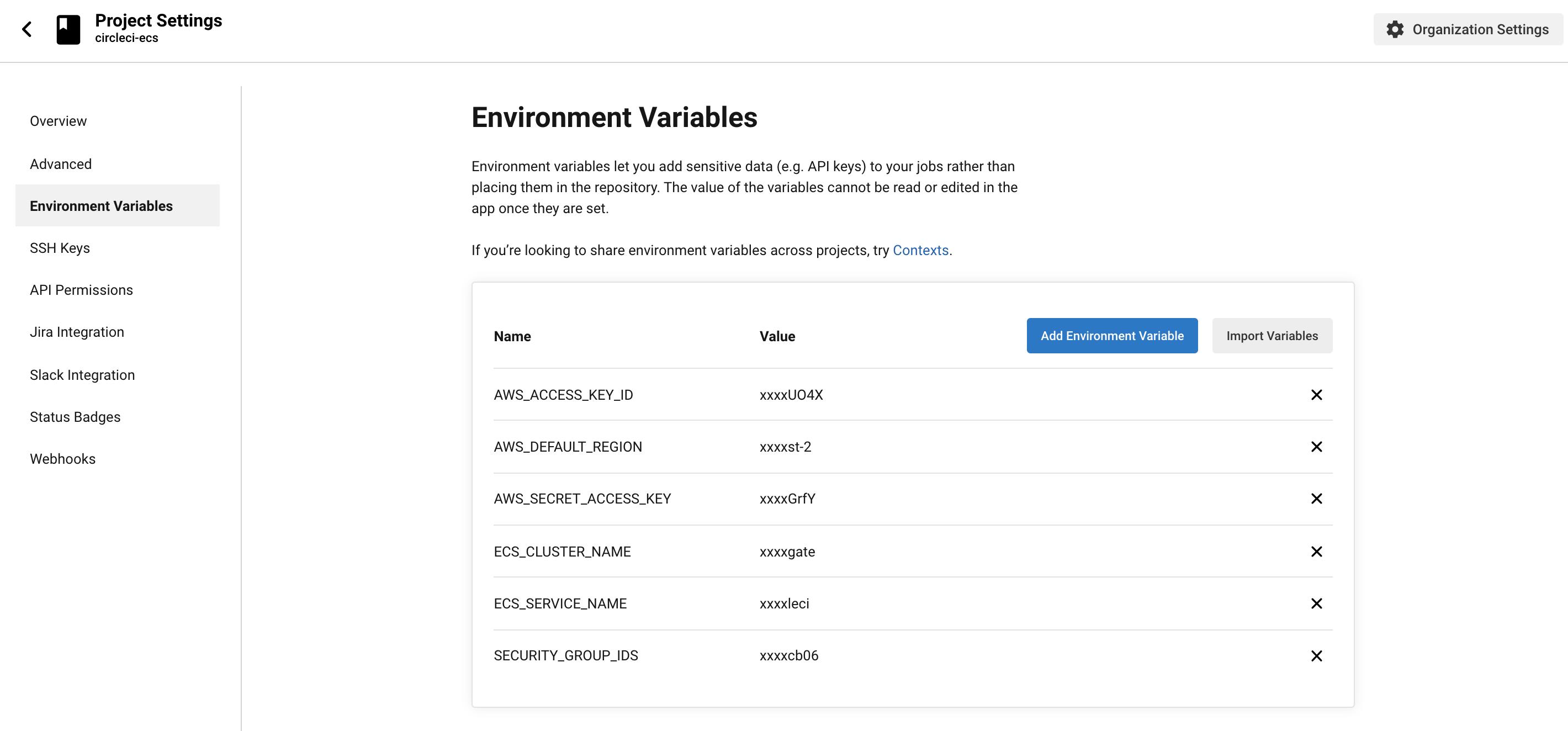 Circle CI Environment Variables