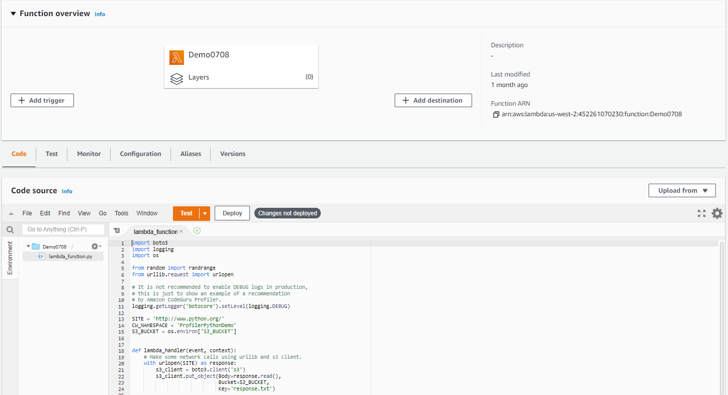 This image shows the Lambda console page for the Lambda function we are referencing.
