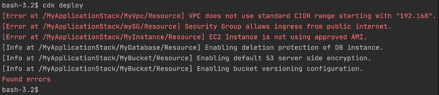Screenshot displaying CDK errors.