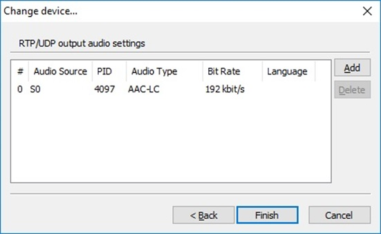 Cinegy Audio Settings