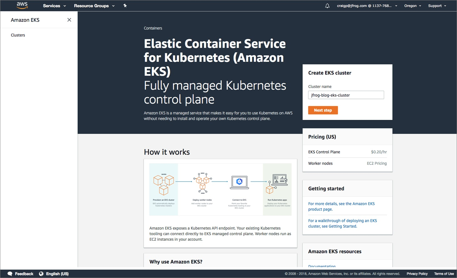JFrog - Amazon EKS Cluster Creation-1