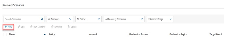 2. Once in the Recovery Scenarios section, I select New