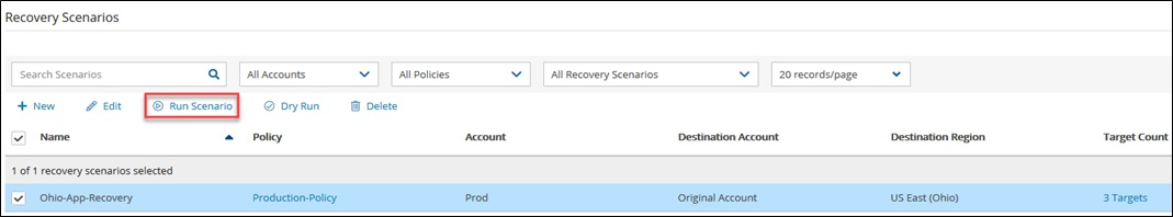 1. The process is very similar to performing a Dry run, except this time I am going to select the Recovery Scenario that I want to use and click Run Scenario.