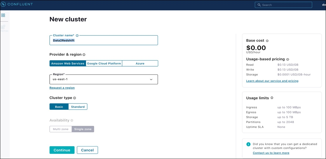 Confluent Redshift DataWarehousing Fig5 EnterClusterParticulars