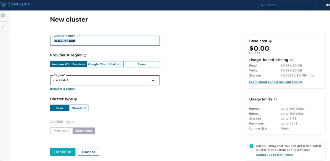 Confluent Redshift DataWarehousing Fig6 EnterClusterParticulars