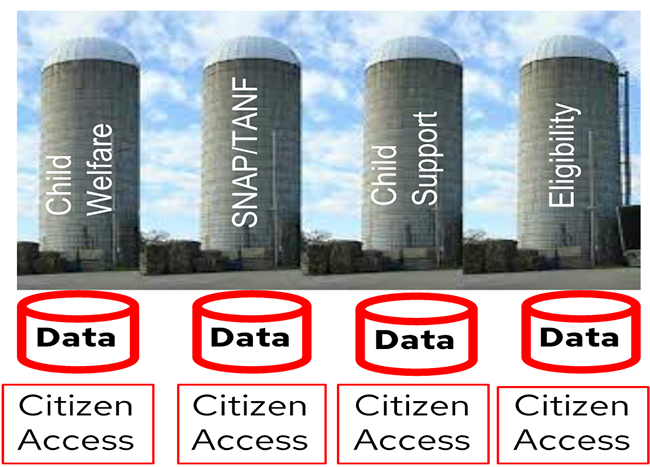 Figure 1 - Healthcare silos - duplicate data and services and expensive complexity.