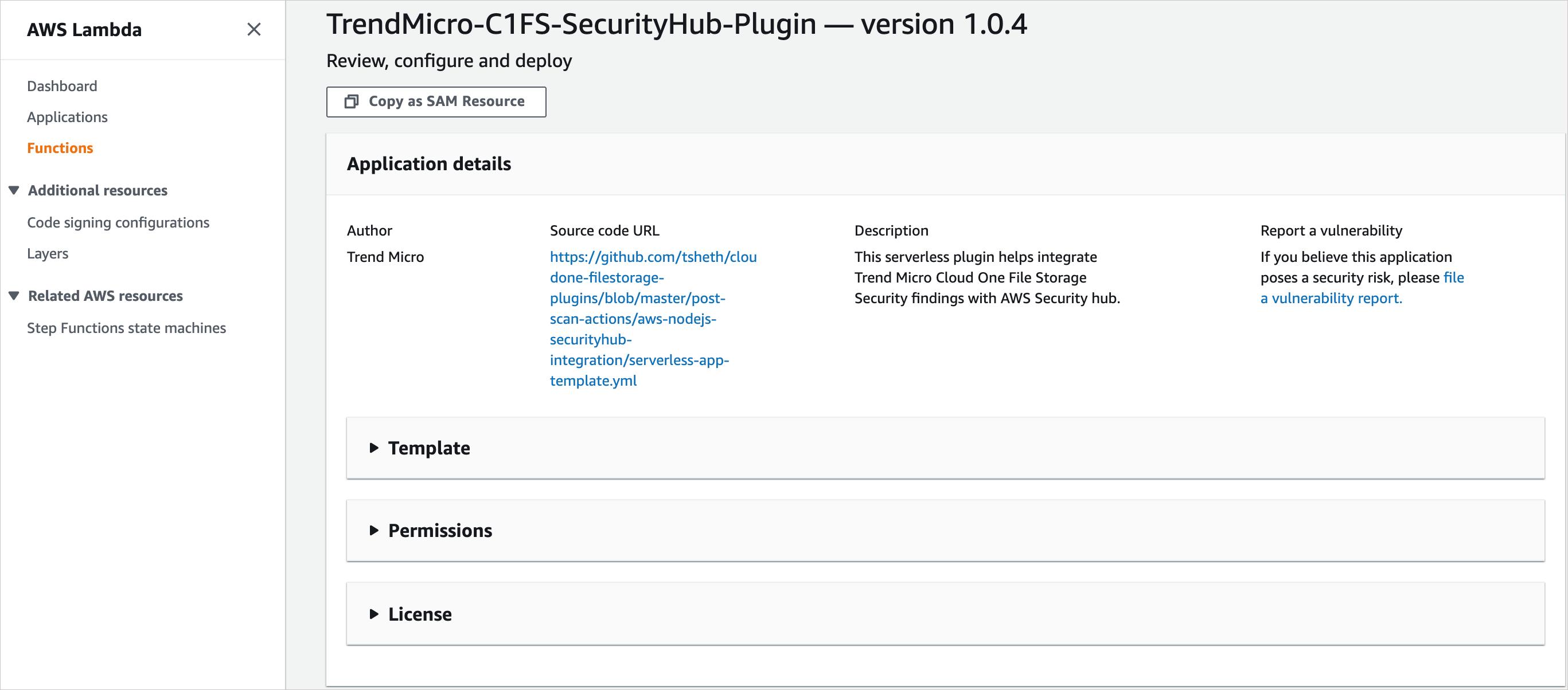 Figure 3 – Cloud One File Storage Security Serverless Plugin for AWS Security Hub.