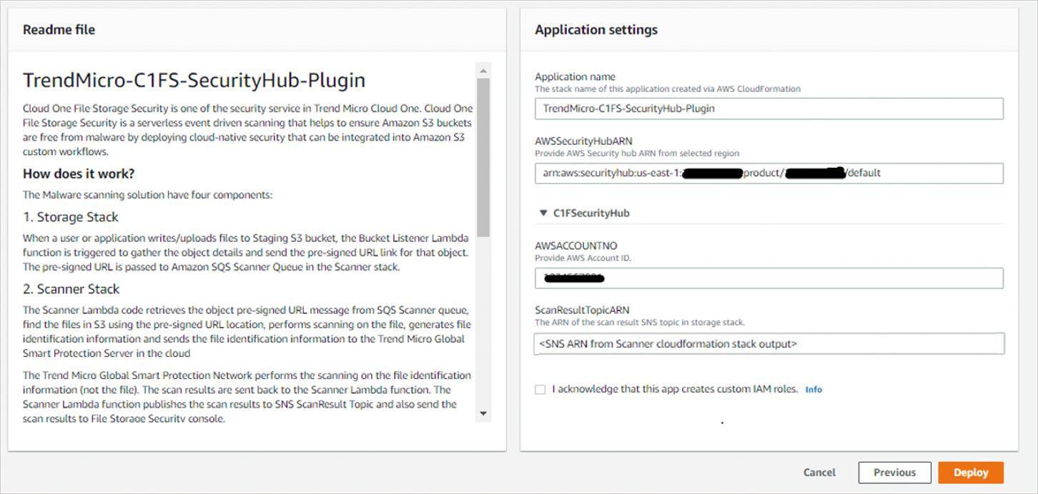 Figure 4 – Cloud One Serverless Plugin for AWS Security Hub – application settings.