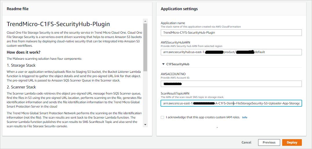 Figure 6 – Cloud One Serverless Plugin for AWS Security Hub – Application Settings.