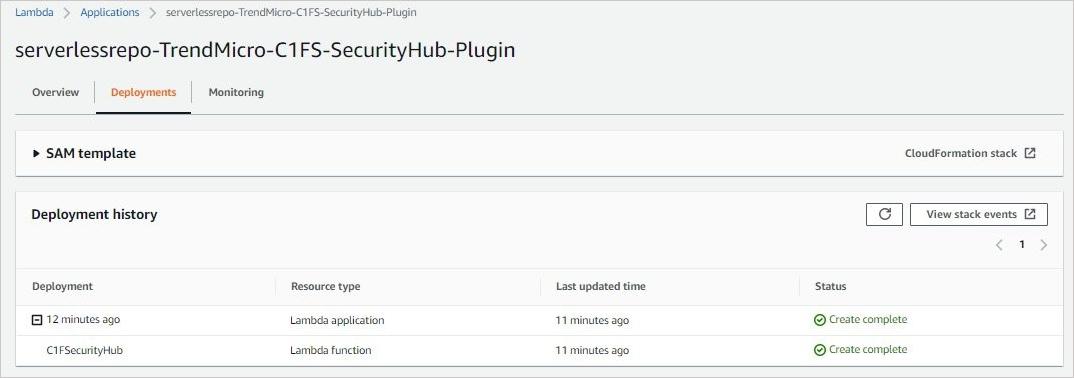 Figure 7 – Cloud One Serverless Plugin for AWS Security Hub – Deployment Status.