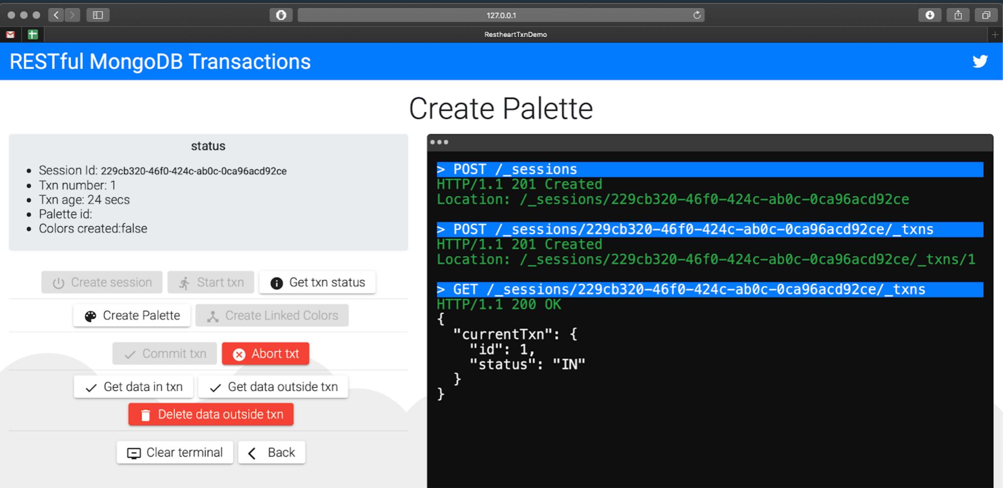 Figure 2 - User screen view in RESTHeart.