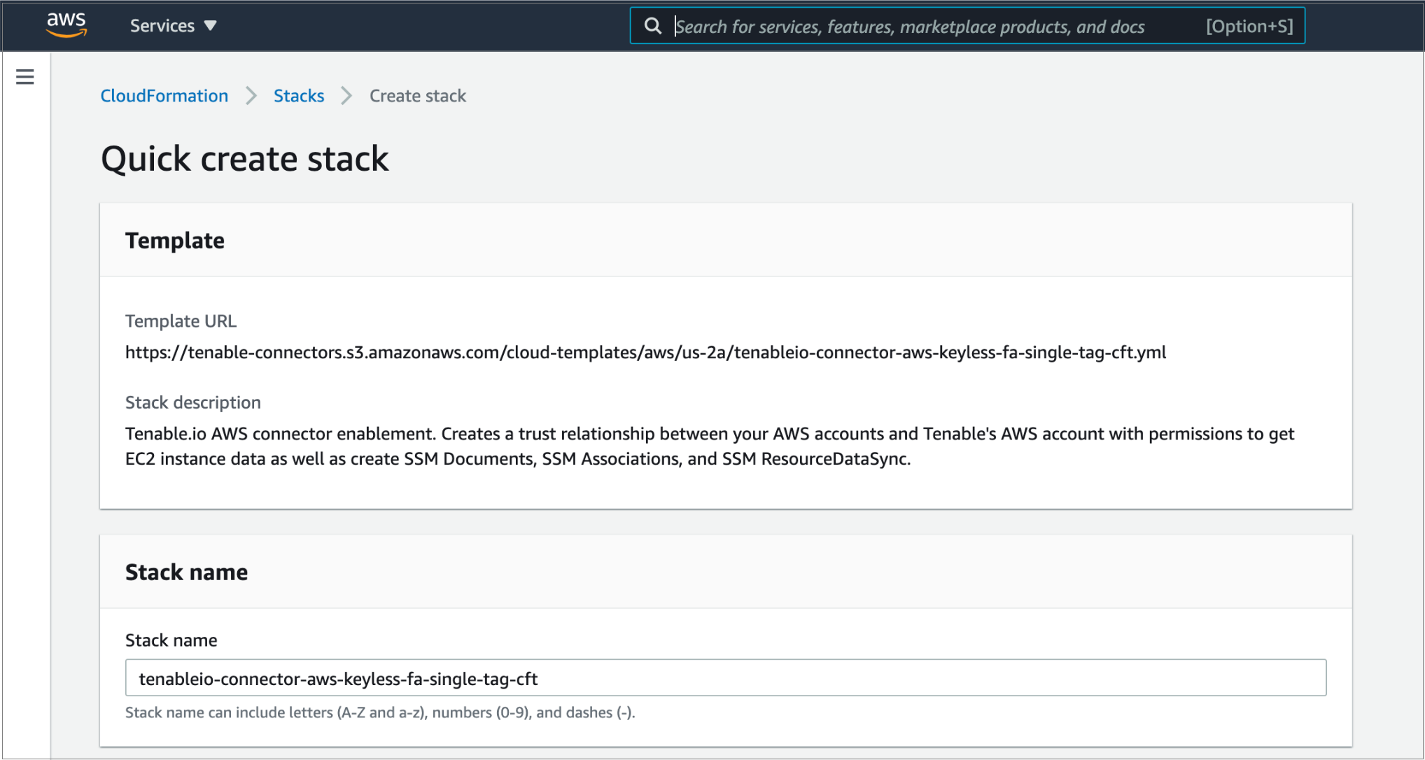 Figure 3 – CloudFormation template for Frictionless Assessment in the AWS Console.