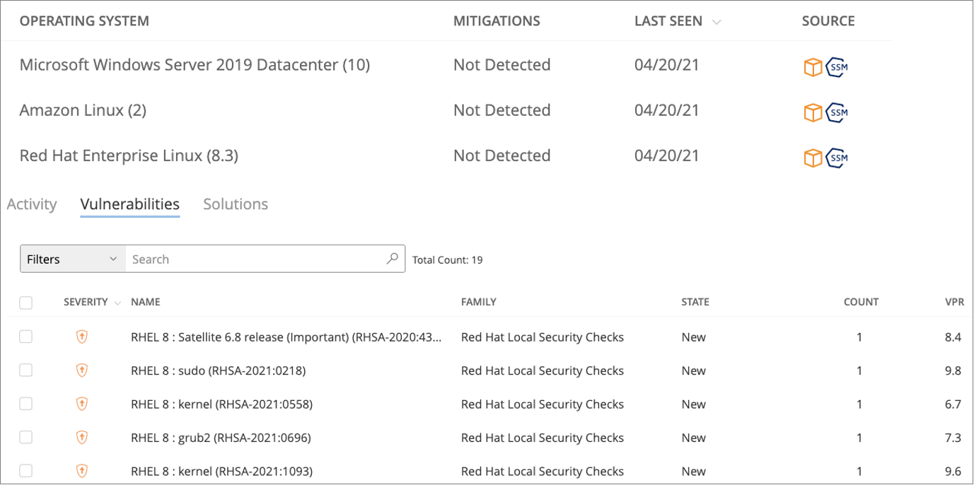 Figure 5 – Vulnerability information populated in Tenable.io from Frictionless Assessments.