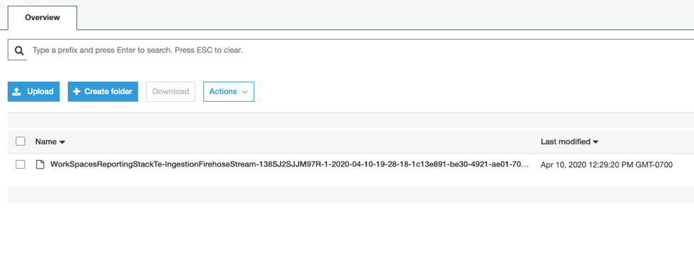 A WorkSpaces access log stored in your S3 bucket.