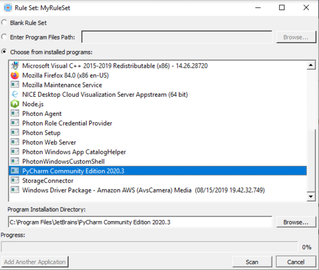Select the application you want to hide in the Rule Editor