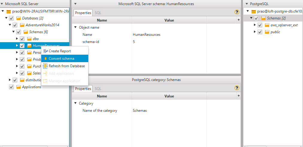 select the humanresources schema right click and choose convert schema