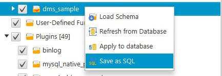 Save as SQL を選択