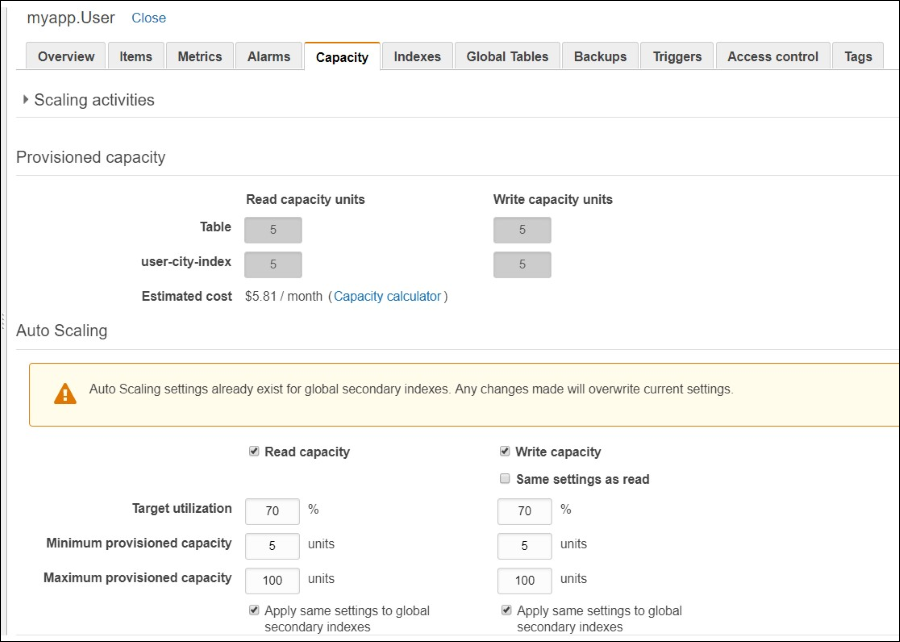 Screenshot of the Capacity tab with details about the auto scaling configuration