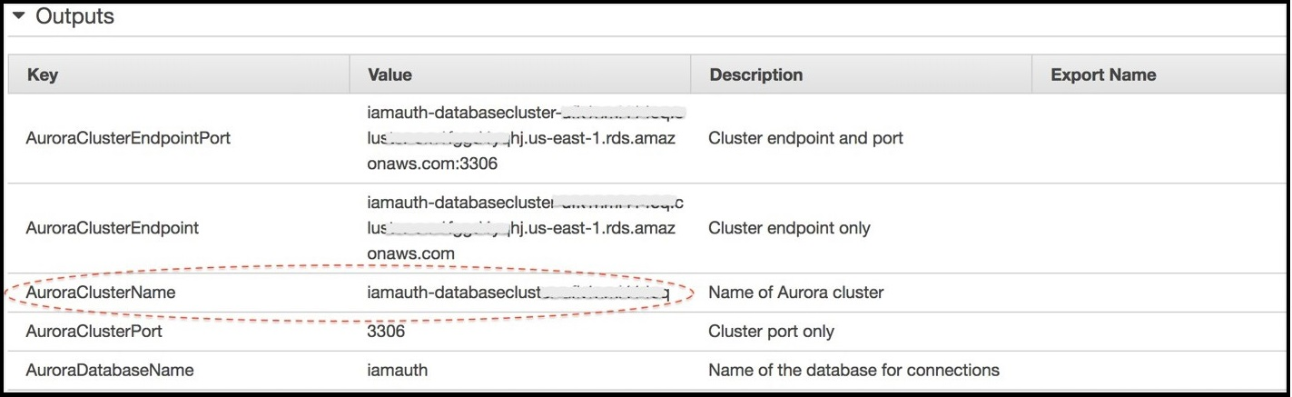 Screenshot of the 'Outputs' window on the AWS CloudFormation console