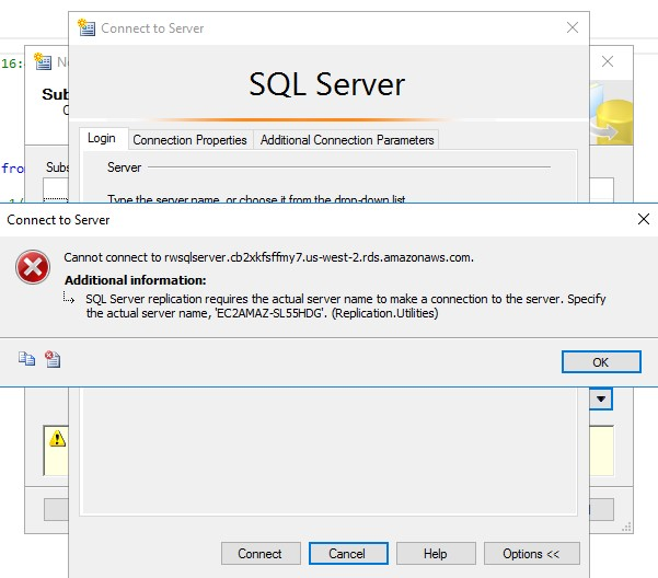 Screenshot of the error shown when trying to connect to the SQL Server database