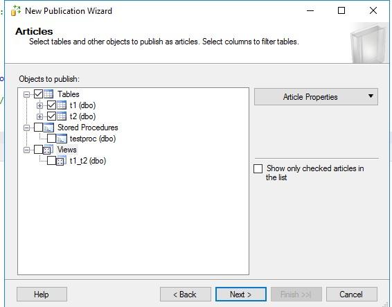 レプリケーションする全オブジェクトを選択するための [アーティクル] ページのスクリーンショット