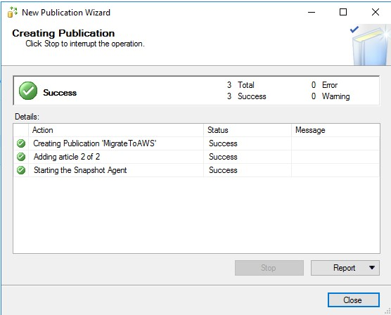 Screenshot of the successful completion of publication creation