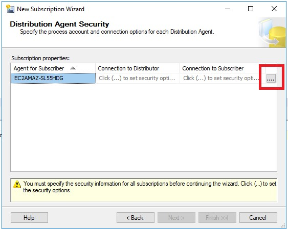 Screenshot of the Distribution Agent Security dialog box