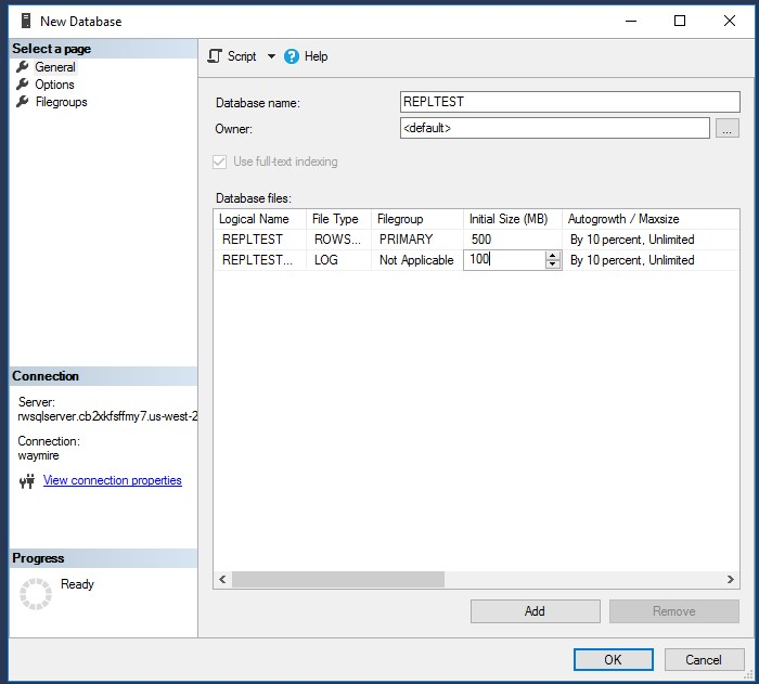 SSMS 上の RDS サーバーでデータベースを作成する