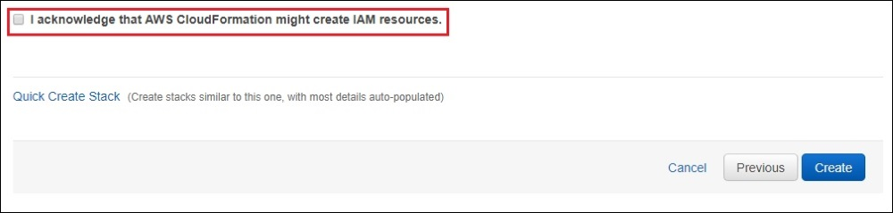 Select the 'I acknowledge that AWS CloudFormation might create IAM resources.' check box, and choose 'Create'