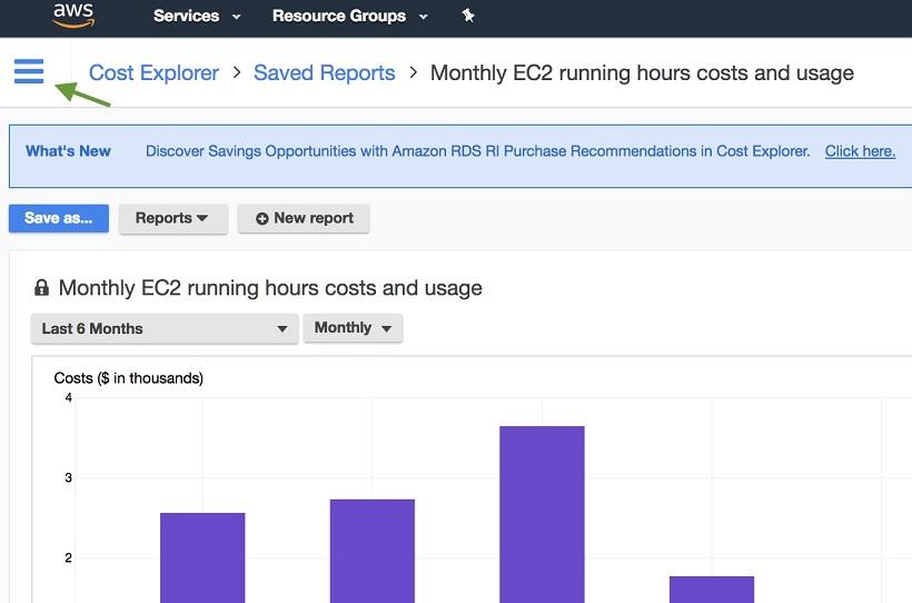 Cost Explorer コンソールのスクリーンショット