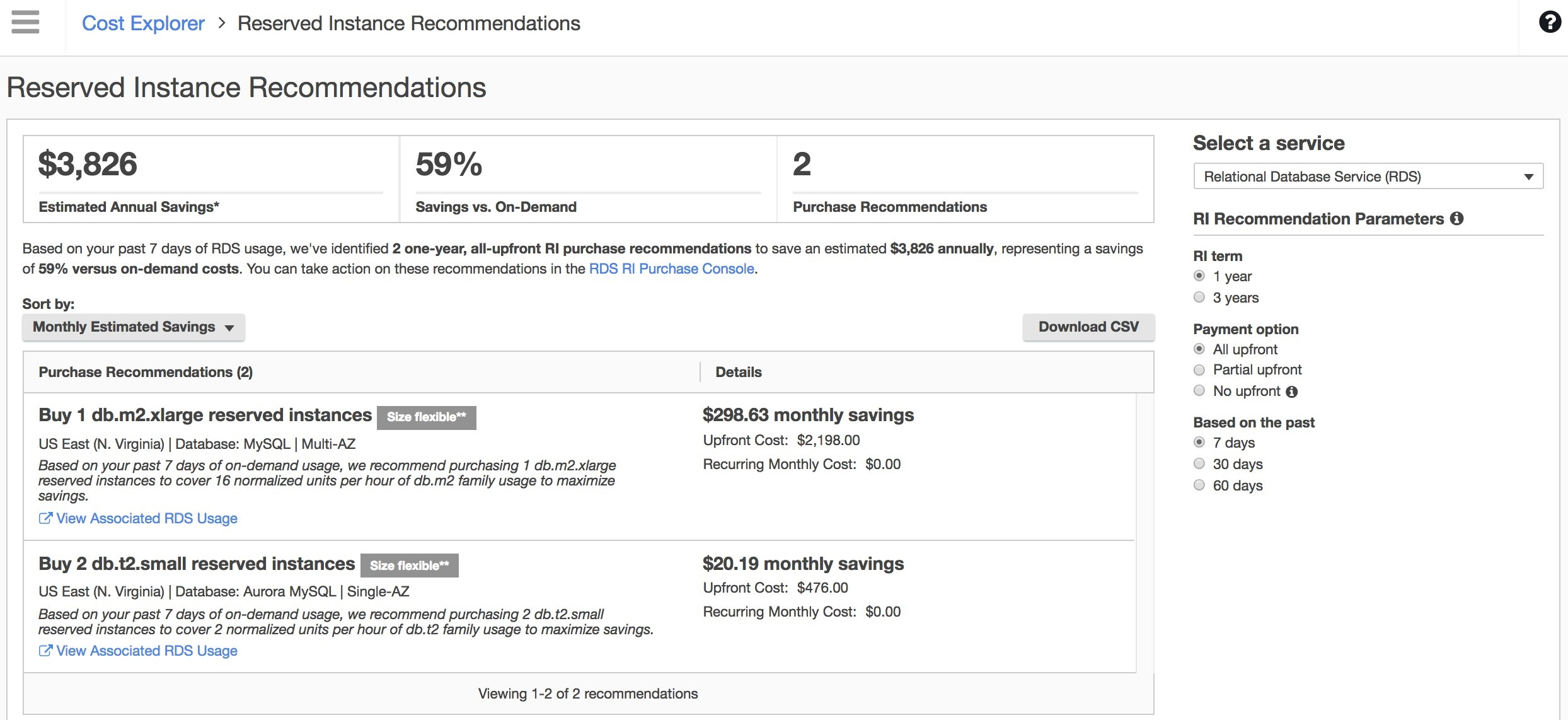 Screenshot of the RDS Reserved Instance Recommendations in Cost Explorer