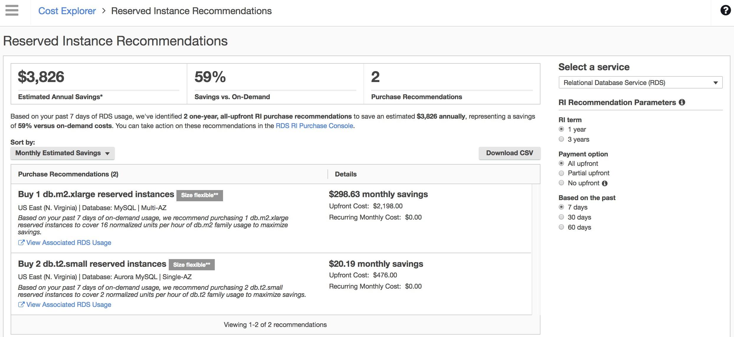Cost Explorer での、RDS リザーブドインスタンス推奨事項のスクリーンショット