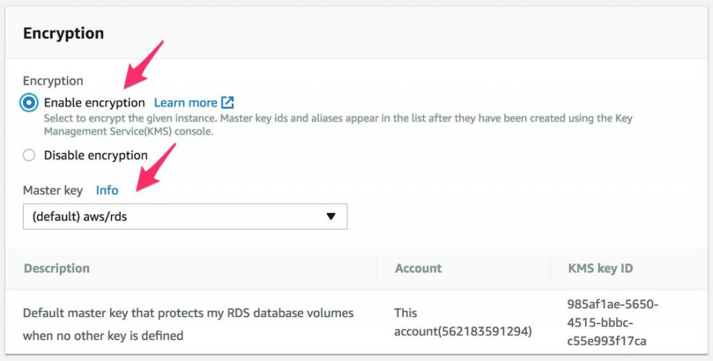 Screenshot to enable encryption for the database instance