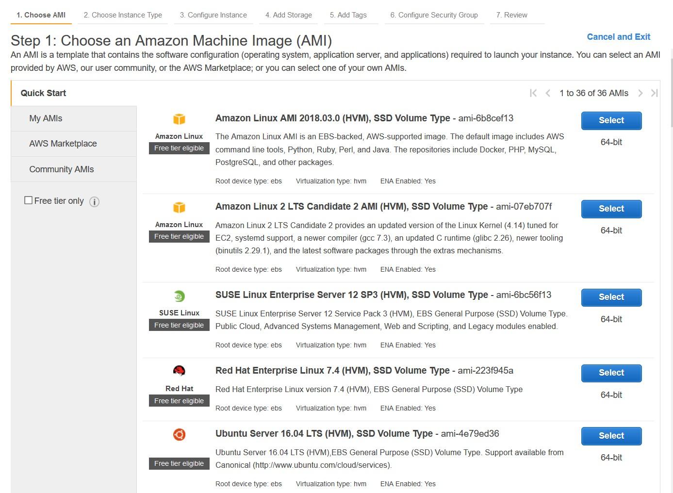 Amazon Machine Image (AMI) 選択のスクリーンショット