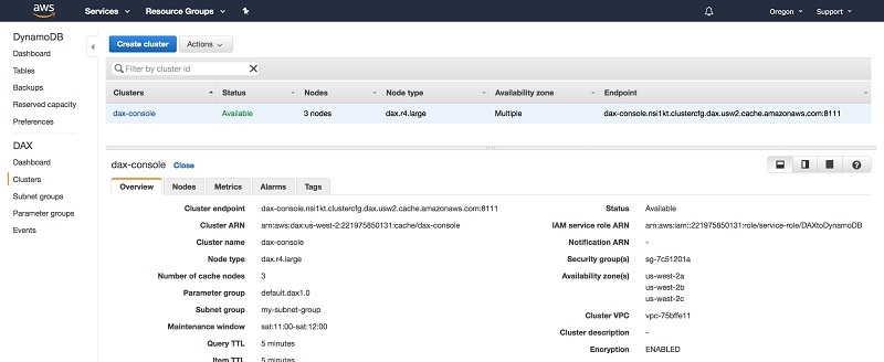 A walkthrough of the Amazon DynamoDB Accelerator console