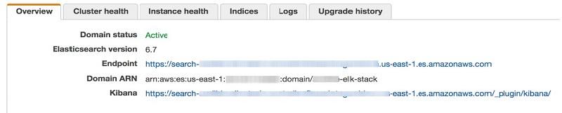 エンドポイント、ARN、Kibana URL の場所を示す Amazon ES ドメインの概要ページのスクリーンショット。