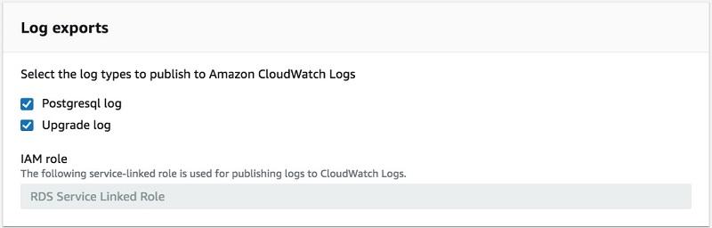 選択した PostgreSQL ログと Upgrade ログボックスを表示するログエクスポートページのスクリーンショット。