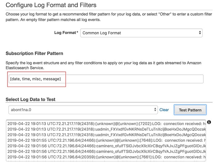 Configure Log Format and Filters ページのスクリーンショット。選択した Common Log Format が示され、Subscription Filter Pattern