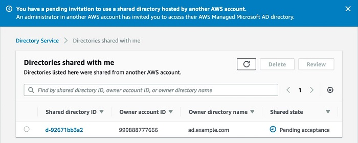 "Figure 3. The shared directory is listed in the ""Directories shared with me"" table with status ""Pending acceptance"" in the Amazon RDS account."