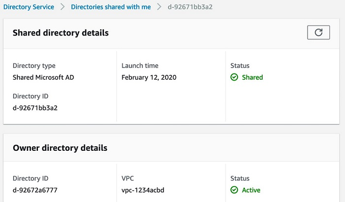 Figure 4. The shared directory page after the share request is accepted shows the information about the shared directory and the original directory in the Amazon RDS account.