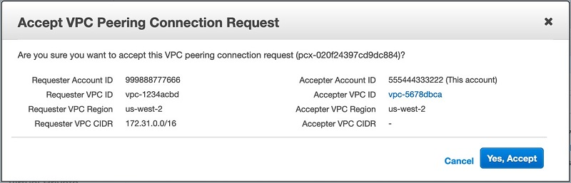 Figure 5. Accepting the peering connection request sent by the AWS Directory Service account in the Amazon RDS account