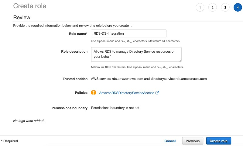 Figure 7. Creating a role to allow Amazon RDS to manage the directory on your behalf in the Amazon RDS account