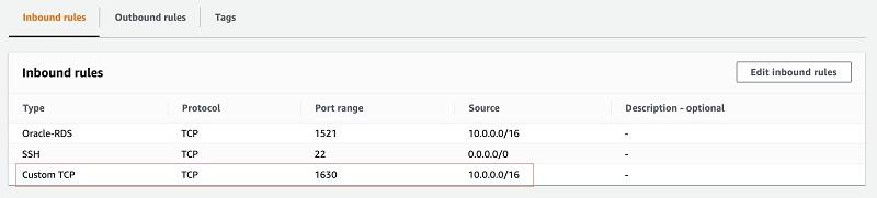 Add 1630/tcp port entry for 10.0.0.0/16 CIDR.