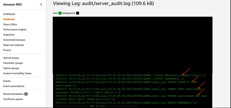 The following screenshot shows the view of your audit log file.
