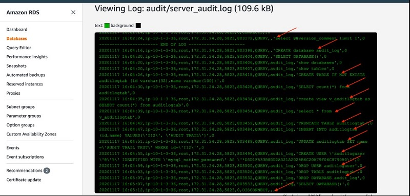The following screenshot shows a view of your log file.