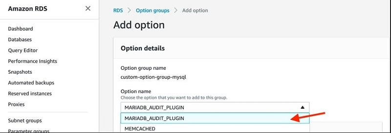 For Option name, choose MARIADB_AUDIT_PLUGIN.