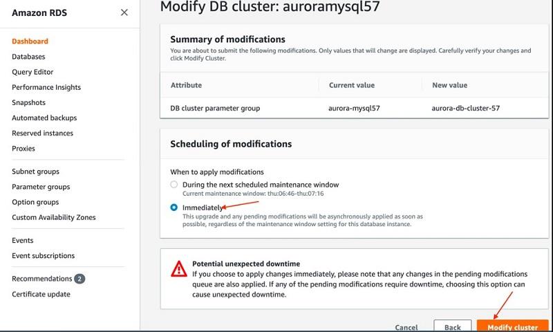 Choose Modify cluster.
