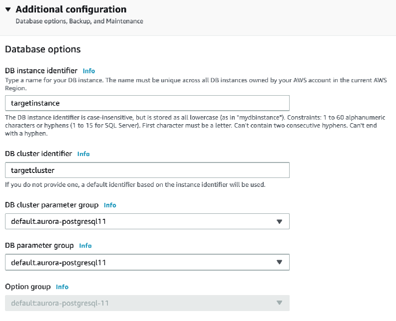 For the remaining settings on this page, use the same settings that you use to create an Aurora DB cluster.