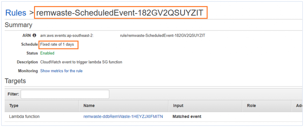 "Screenshot of AWS Console showing a CloudWatch Events rule highlighting its schedule: ""Fixed rate of 1 days"""